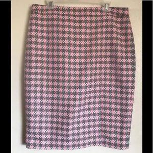 TALBOTS Pink Gray White Wool Blend Pencil Skirt